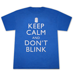 DOCTOR WHO Keep Calm And Don't Blink Blue Graphic Tee Shirt