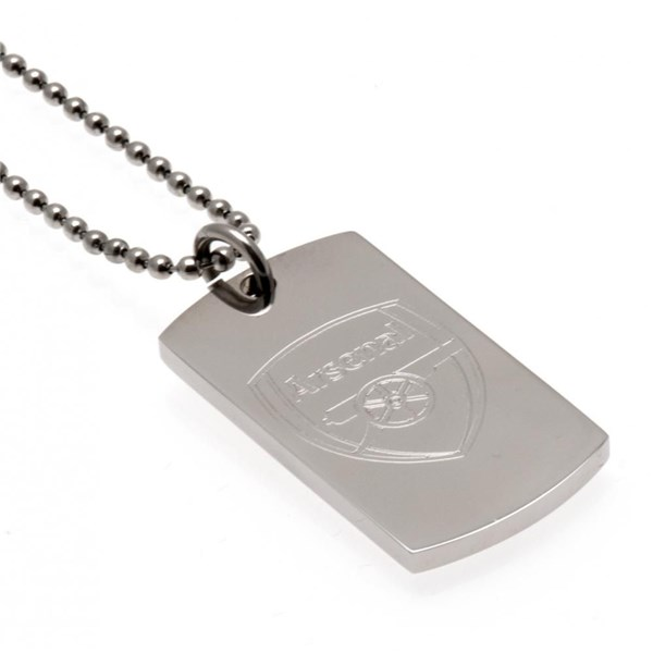 Arsenal F.C. Engraved Crest Dog Tag and Chain
