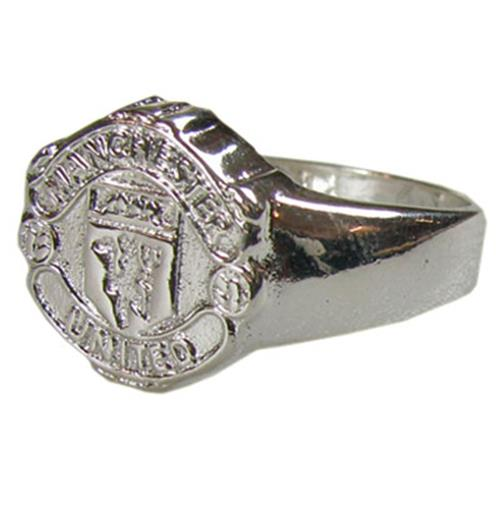 Manchester United F.C. Silver Plated Crest Ring Small