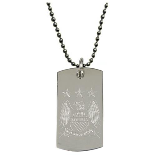 Manchester City F.C. Engraved Crest Dog Tag and Chain