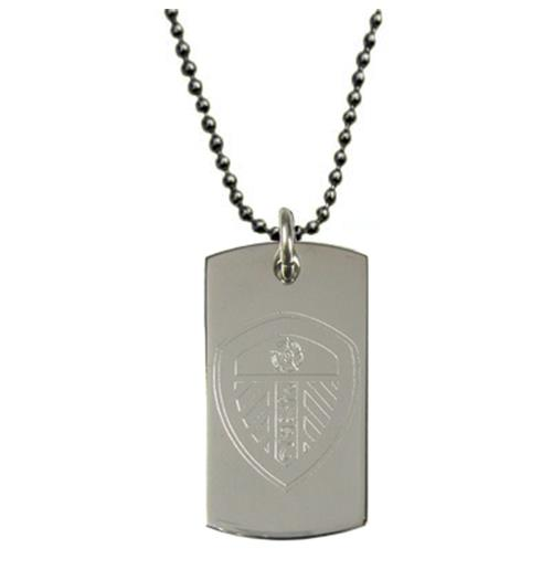Leeds United F.C. Engraved Crest Dog Tag and Chain