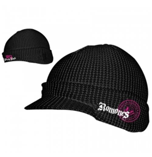 Official ramones rolled billed beanie hat buy online on offer jpg 500x516 Ramones  beanie c48ba1b2519d