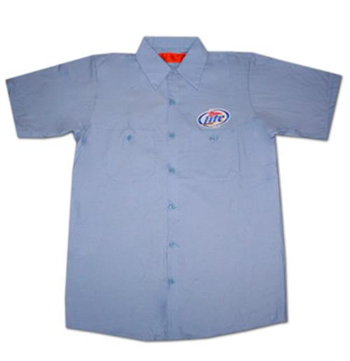 Miller lite button up light blue costume delivery for Blue button up work shirt