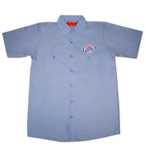 Miller lite button up light blue costume delivery for Light blue work shirt