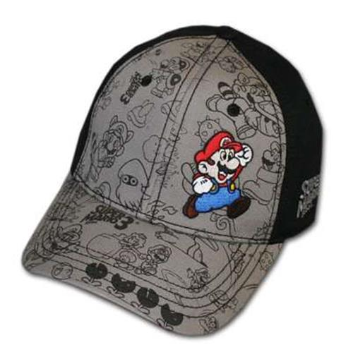 Nintendo Super Mario Bros 3 Characters Black Fitted Hat