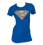 SUPERMAN Faded Logo Royal Blue Juniors Graphic T Shirt